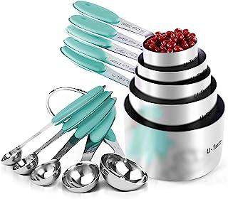 U-Taste Tazas Medidoras, Juego de 10 Tazas y Cucharas Medidoras de Acero Inoxidable 18/8, Mango de Grosor Mejorado (Aqua Sky)