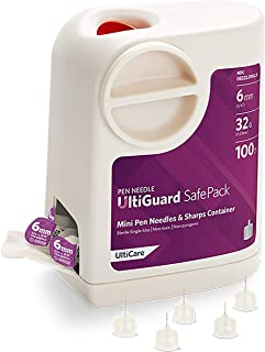 """UltiGuard Safe Pack Pen Needles and Sharps Container Mini 6mm (1/4"""") 32G 100ct"""