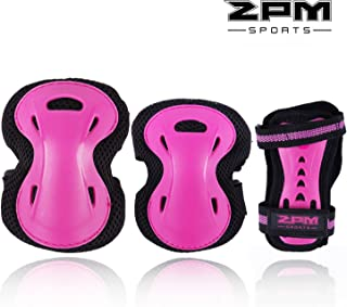 2PM SPORTS Girl's Pink Protective Gear Set - Knee Pads Elbow Pads and Wrist Guards for Kids Rollerblades Skateboarding, Inline Roller Skating, Cycling, Balance Bikes, and Scooters