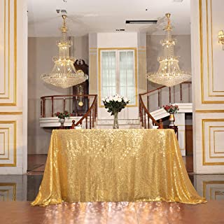 """Juya Delight 50"""" x 80"""" Bright Gold Sequin Tablecloth Rectangle for Wedding Birthday Party Festival Ceremony Cake Dessert Table"""