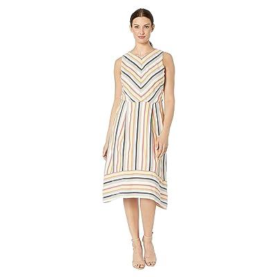eci Sleeveless Novelty Stripe Yarn-Dye Fit and Flare Dress (Multi) Women