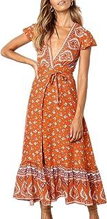 4367b8cfd81e ZESICA Women's Bohemian Floral Printed Wrap V Neck Short Sleeve Split Beach  Party Maxi Dress