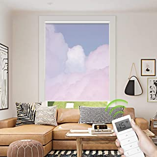 Motorized Window Roller Shade Remote Control Wireless and Rechargeable - Patterned Window Shades Blackout or Light Filtering Fabric for Home and Office Customized Size (Color Cloud - Motorized)