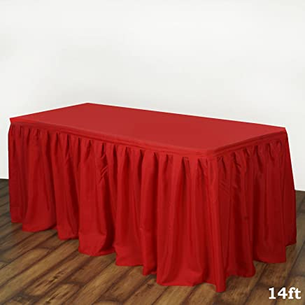 8bd53d97b4 Efavormart 14ft Red Accordion Pleat Polyester Table Skirt for Kitchen  Dining Catering Wedding Birthday Party Decorations