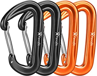 Favofit Carabiner Clips, 4 Pack, 12KN (2697 lbs) Heavy Duty Caribeaners for Camping, Hiking, Outdoor and Gym etc, Small Ca...