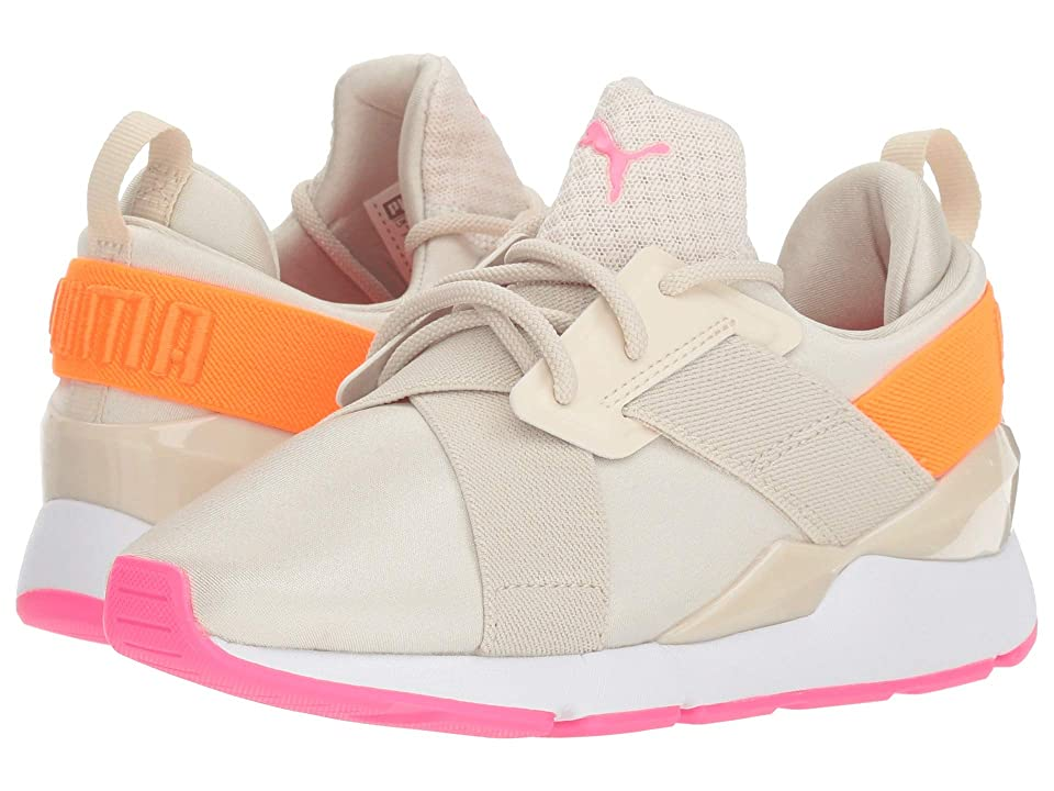Puma Kids Muse Chase PS (Little Kid) (Birch/Shocking Orange) Girls Shoes