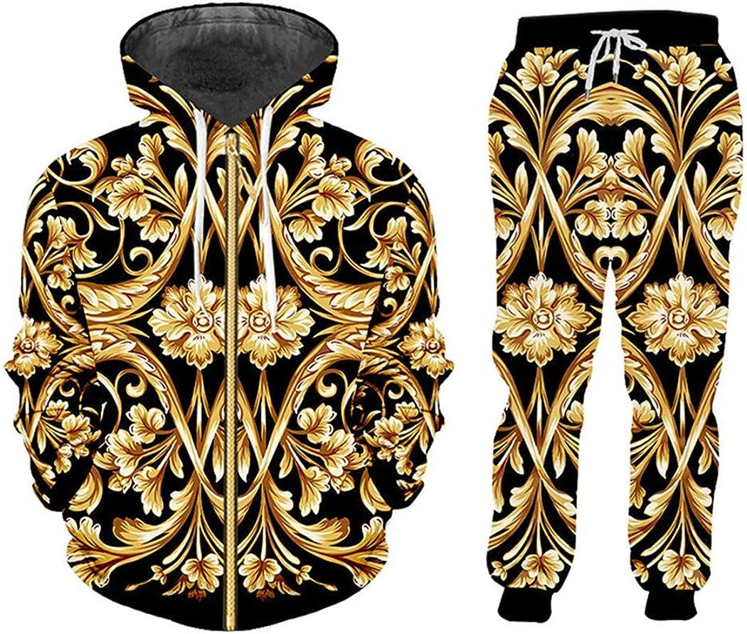 3D Print Gold Flower Ranking TOP17 Luxury Baroque Hoodies lowest price Royal Tracksuit Jack