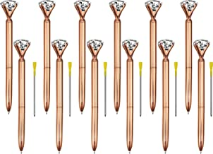 Bememo 12 Pieces Big Diamond Crystal Ballpoint Pens and 6 Pieces Ballpoint Pen Refills, Black Ink (Rose Gold)