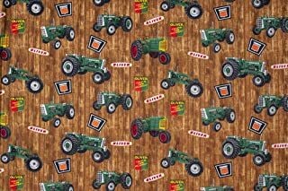 Oliver Tractor Fabric, Brown, Sold by The Yard
