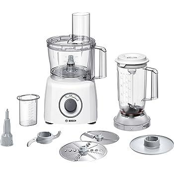 Bosch MCM3200W Kompakt-Küchenmaschine, 800 W, 2,3 L, SmartStorage, weiß / grau