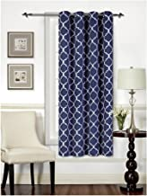 """Mellanni Thermal Insulated Blackout Curtains - 1 Panel - Window Treatments/Drapes for Bedroom, Living Room with Silver Grommet and 1 Tieback (1 Panel, 52"""" x 63"""", Quatrefoil Navy)"""