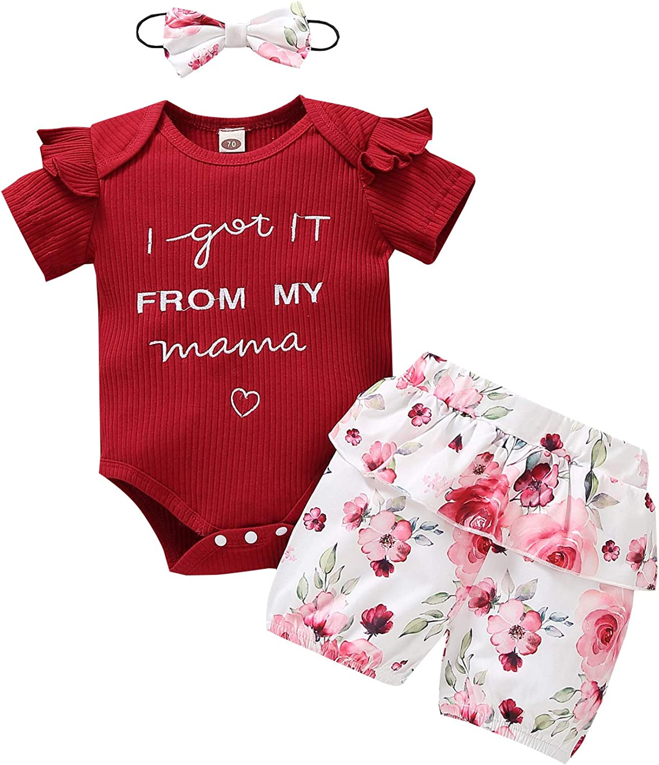 Newborn Baby Girl Clothes Ruffle Sleeve Ribbed Romper+Floral Short Pants+Headband 3Pcs Summer Winter Jumpsuit Outfit Set