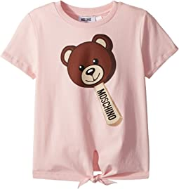 Moschino Kids Short Sleeve Teddy Bear Graphic T-Shirt w/ Front Knot (Little Kids/Big Kids)