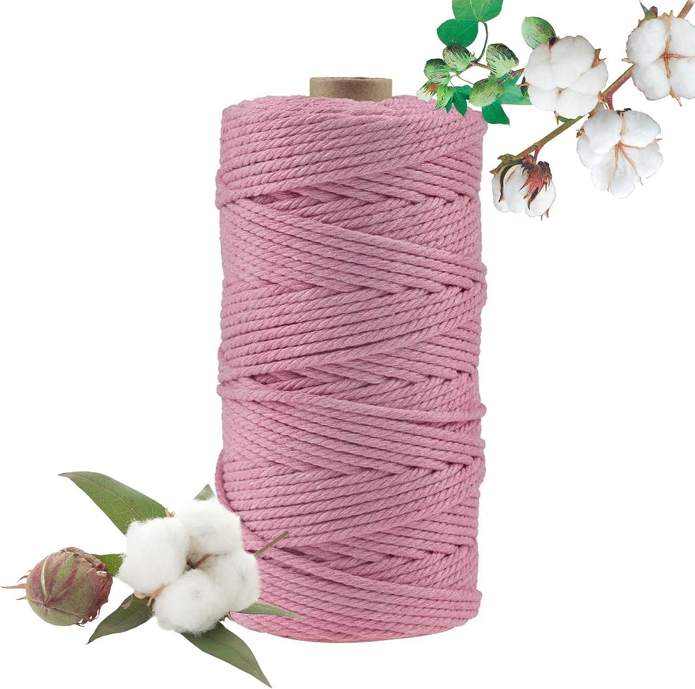 Hecha a Mano Craft Cuerda,Cordel de Algodón,natural trenzado algodon,Hilo Macramé,para Envolver Regalo Navidad Colgar Fotos Manualidades Costura (Rosa-100M-3mm)