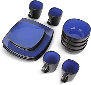 MIAMIO - 16 pièces Ensemble de vaisselle/Service de table (4 tasses, 4 bols, 4 grandes assiettes, 4 petites assiettes) (Bleu)