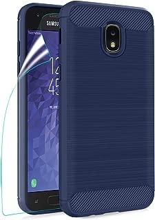 Phone Case for Samsung Galaxy J3 2018/J3 Achieve/J3 Star/J3 Orbit/J3 V 3rd Gen/Express Prime 3/Amp Prime 3 Case HD Screen Protector,Carbon Fiber Soft TPU Shockproof Protective Case for Women/Boys,Navy