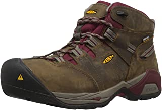 KEEN Utility Women's Detroit XT Mid Steel Toe Waterproof Work Boot, Black olive/tawny red, 5