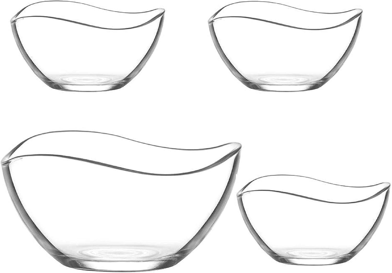 Set de 4 cuencos de cristal - una Ensaladera 17 cm, 950Cc, Vidrio y 3 peq 310cc