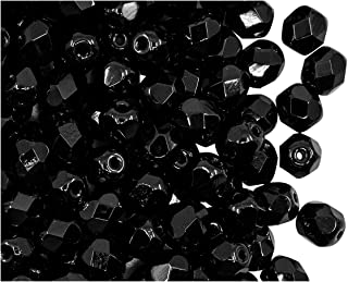 Ceco pressato di Vetro Perline triquetrous 5 x 3.5mm Jet Black Amber 50psc Pinch