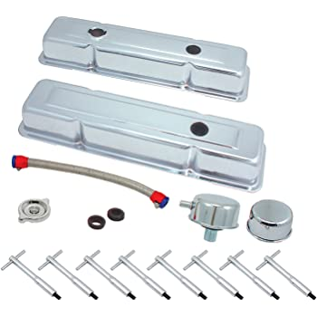 DEMOTOR for 58-86 SBC Chevy 350 Finned Aluminum Valve Covers Air Cleaner Dress Up Kit