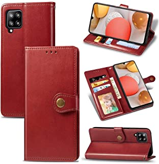 Hanlwza Case Cover For Samsung Galaxy A42 5G Wallet Case, Round Magnetic Rivet Pattern PU Leather Case with Card Holders f...