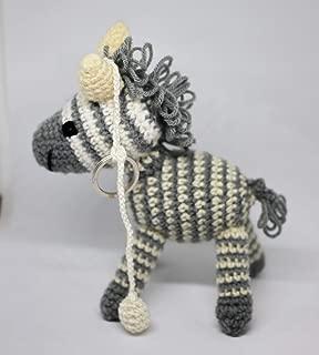 DP Fashion Friendly Zebra Handmade Amigurumi Stuffed Crochet Knit Doll Plus Key Chain