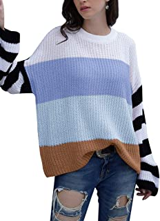Xintianji Women's Color Block Crew Neck Striped Plus Pullover Sweaters Loose Chunky Long Sleeve Knit Jumper Tops