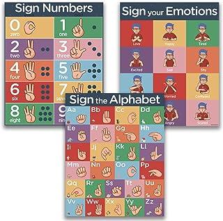 "ASL Kids Sign Language Posters - 3 16x20"" UV Gloss Laminate Charts"