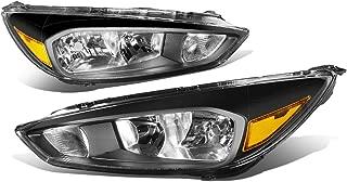 For 15-18 Ford Focus Black Housing Amber Corner Headlights/Lamps - Pair
