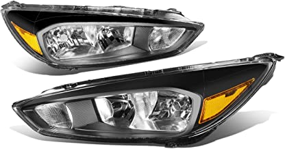 Replacement for 15-18 Ford Focus Black Housing Amber Corner Headlights/Lamps - Pair