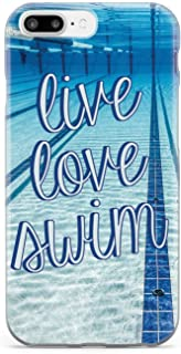 Inspired Cases - 3D Textured iPhone 7 Plus Case - Protective Phone Cover - Rubber Bumper Cover - Case for Apple iPhone 7 Plus - Live Love Swim Case