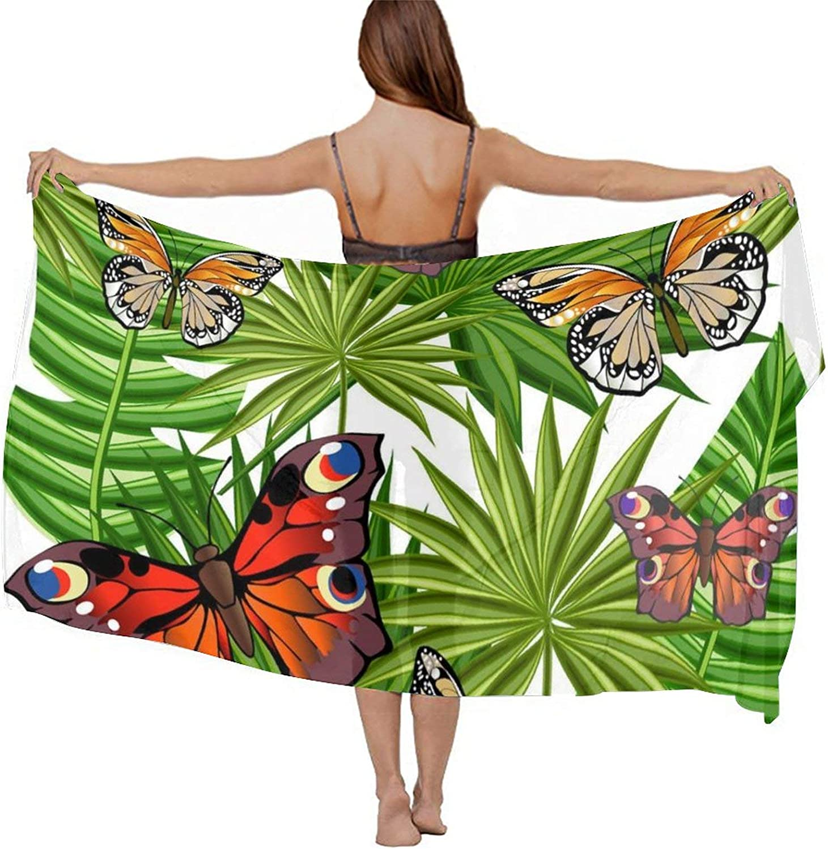 SWEET TANG Women Short Sarongs Bikini Wraps Chiffon Cover Ups Beach Soft Wraps for Cruises, Pool, Lake, Butterflies and Leaves
