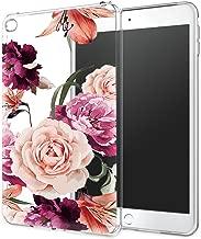 iPad Mini 4 Case, iPad Mini 4 Case with Flowers, LUOLNH Slim Silicone Clear Floral Pattern Soft Flexible TPU Skin Case Protector Shell for iPad Mini 4 -Purple Rose