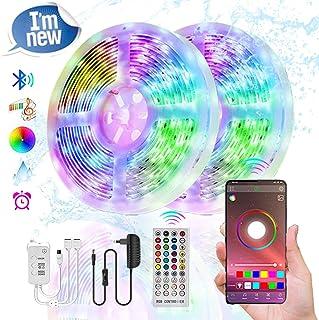 10M Bluetooth Tiras LED Musical 5050 RGB, COOLAPA Tiras de Luces LED Iluminación con 12V 300 LEDS, Función Musical, Control de APP y de Control Remoto, Impermeable IP65, Adaptador (Multicolor)