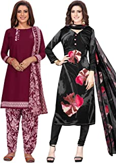 S Salwar Studio Women's Pack of 2 Synthetic Printed Unstitched Dress Material Combo-MONSOON-2881-2888