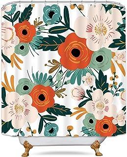 Riyidecor Duschvorhang mit bunten Blumen, 152 x 182 cm (B x