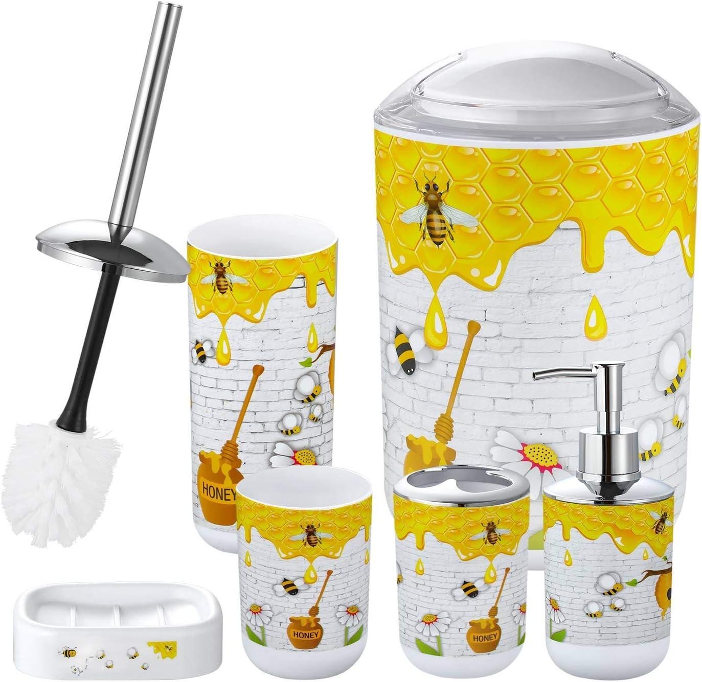 Toothbrush Cup Soap Dish Flat-Bottom Cup Straw Set Bathroom Soap Dispenser skonhed Bathroom Accessories Set Ocean 6-Piece Plastic Gift Set Toilet Brush Holder Toothbrush Holder Trash Can