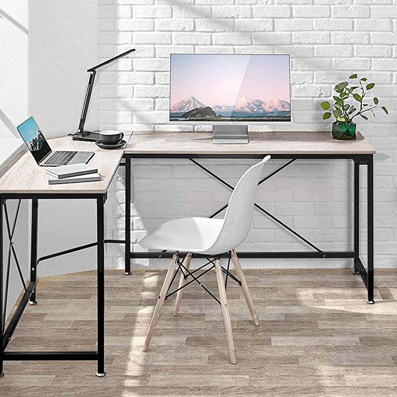 Computer Desk Modern PC Laptop Home Office Desk Industrial Style Design L Shaped Corner Desk For Home Office Desk With MDF Board 64 9x49x29 7 Inches Wood Grain