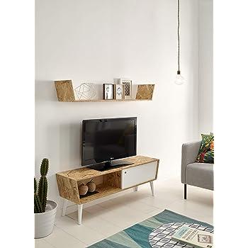 HOGAR24 ES Mueble TV con Estante Superior Madera Reciclada, Estilo Retro Vintage. Medidas; 120 cm Alto: 45 cm Fondo: 30 cm: Amazon.es: Hogar