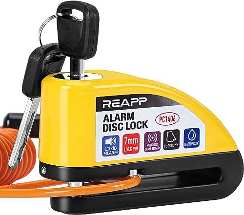 REAPP Candado Moto Disco con Alarma 110 DB, Antirrobo Moto Freno 7mm con Accesorios 1.5m Cable Recordatorio y Candado...