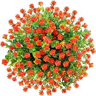CQURE 5 Bunches Artificial Flowers, Fake Flowers Artificial Greenery UV Resistant Outdoor Plants Eucalyptus Faux Plastic Shrubs Outside for Home Garden Porch Party Wedding Decoration (Orange Red)