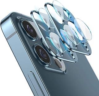 SUGURE iPhone 12 Pro Max カメラフィルム 2枚入り レンズ保護 アルミニウムカバー 硬度9H キズ防止 耐衝撃 高透過率 超耐久 (iPhone 12 Pro Max ネイビーブルー)