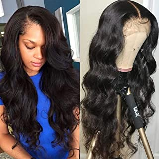 13x6 Lace Front Human Hair Wigs for Women Pre Plucked Hairline 150% Denisty Brazilian Body Wave Lace Front Wigs with Baby Hair Natural Color (18inches, deep part wig)