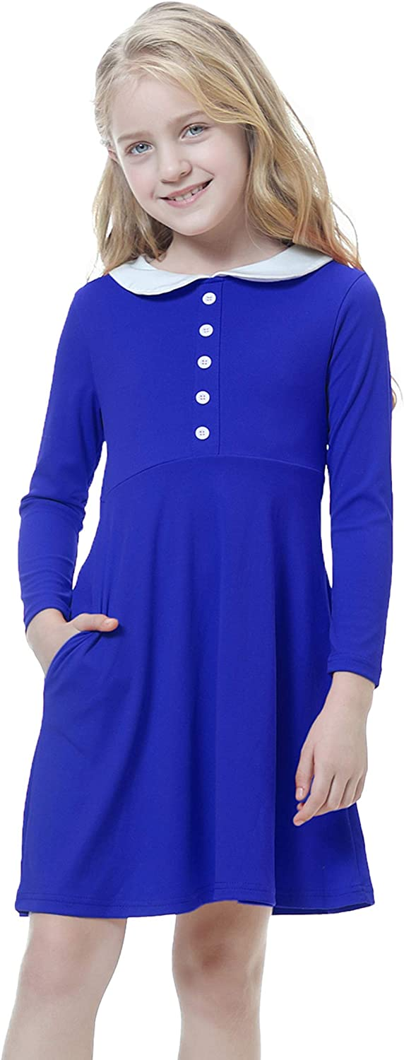 Girl's Peter Pan Collar Button Part Casual Collared Max 42% OFF Skater Daily bargain sale Dress