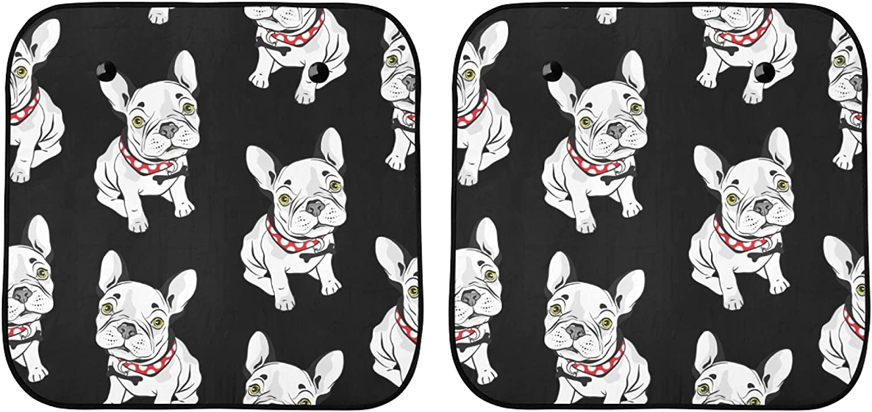 YPink Max 58% OFF Car Windshield Sunshade Cute Bulldog Bl On Ultra-Cheap Deals French Seamless