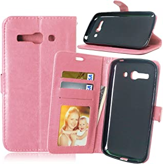 Happy-L Case for Alcatel One Touch Pop C9 7047D, Solid Color Premium PU Leather Wallet Magnetic Buckle Design Flip Folio Protective Case Cover with Card Slot/Stand (Color : Pink)
