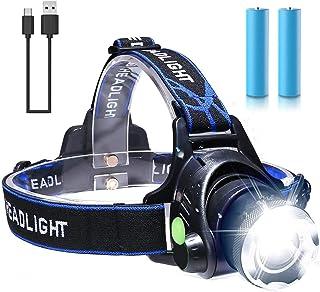 Linterna Frontal, Linterna Cabeza LED - USB Recargable, Zoomable Luz Frontal - Impermeable, Lámpara de Cabeza para Campin...