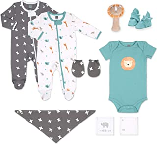 The Peanutshell Newborn Lion Gift Set, 10 Piece Layette Set with Rattle and Bib in Boy, Girl, and Unisex Prints