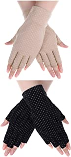 Boao 2 Pieces Women Sunscreen Fingerless Gloves UV Protection Sunblock Gloves for Driving Riding Fishing Golfing Outdoor Activities, 2 Colors