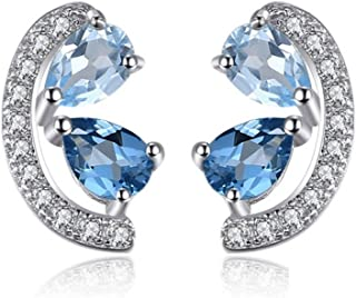 CS-DB Silver Clear CZ Romantic Style Ribbon Statement Stud Charm Earrings
